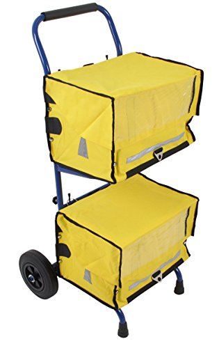 PAPERLINO Zeitungswagen mit 2 gelben Zeitungstaschen • Innenmaße der Zustelltaschen ca. 40x30x30 cm • Robuster Zeitungstrolley (Zeitungsroller) mit stabilem Stand • Zustellerbedarf