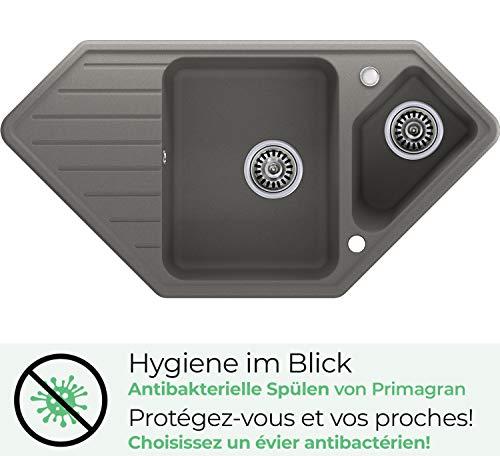 Granitsp/üle mit Siphon Paris Einbausp/üle Sp/ülbecken Graphit K/üchensp/üle Unterschrank K/üche ab 45cm Sp/üle aus Granit mit Ablaufgarnitur Drehexcenter und /Überlauf von Primagran