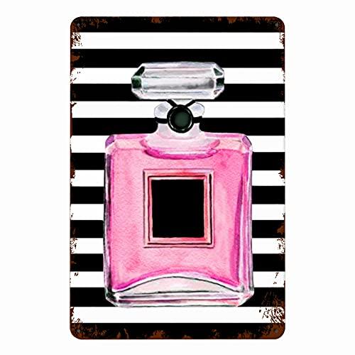 TARTINY Letreros de metal,Frasco de perfume rosa Belleza Maquillaje Raya Blanco y negro Moderno Dama Moda Cosméticos, Decoración de pared de pintura de hierro de pared de cartel de chapa