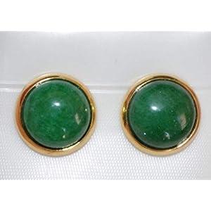Minimalist Vintage Green Jade Stud Earrings