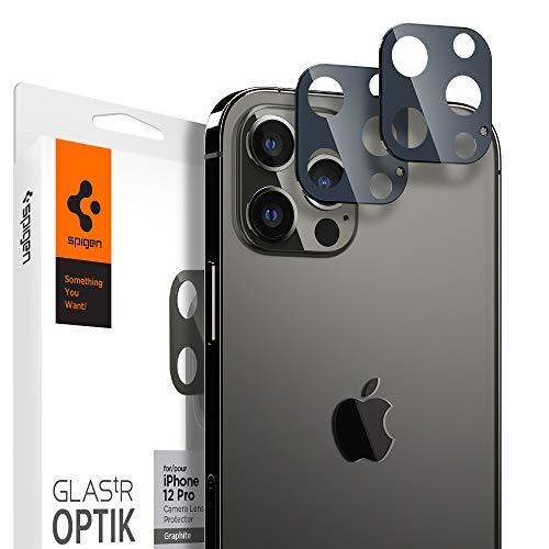 Spigen Glas.tR Optik Kamera Panzerglas kompatibel mit iPhone 12 Pro, 2 Stück, Graphit, Anti-Kratzer, 9H Härte Schutzfolie