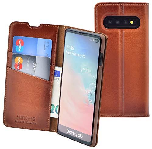 Suncase Handmade Book-Style (Slim-Fit) kompatibel mit Samsung Galaxy S10 Hülle aus echtem Leder Tasche Lederhülle Schutzhülle Wallet Hülle (ohne Magnet) in Burned Cognac
