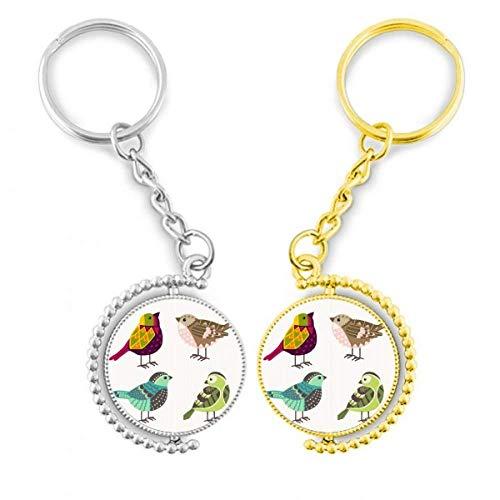DIYthinker La Coloration Illustration Charmante Vögel Ring Metall gold Schlüsselanhänger – Schlüssel