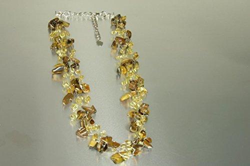 Handgefertigtes Modeschmuck - Collier 'Primavera - Tigerauge' aus 925er Silber