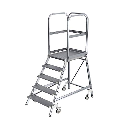 GÜNZBURGER Aluminium-Podestleiter, einseitig, 5 Stufen,