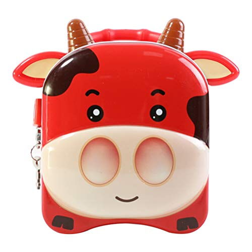 Garneck Animal Cow Piggy Bank Iron Flandres Red Calf Bull Money Bank Coin Box Saver Pot Change Recipiente Tanque de Armazenamento para Crianças Presente de Aniversário Vermelho