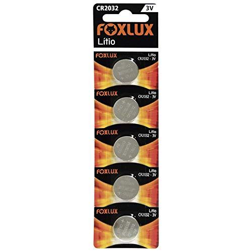 Bateria de Lítio Foxlux – CR2032 – 3V – Cartela com 5 unidades – Ideal para controles de portão, alarmes de carro, brinquedos e aparelhos auditivos