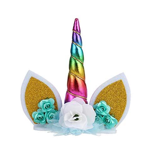 Licorne Bandeau Oreilles Fleur Bandeau Gâteau d'anniversaire Toppers avec Les Oreilles Unicorn Fleur Coiffe pour Party Decoration