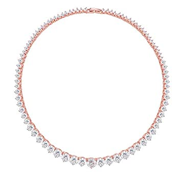Lavencious Tennis AAA CZ Necklace Bridal Evening Party Bling Gold Plated Statement Jewelry 16   Rose Gold