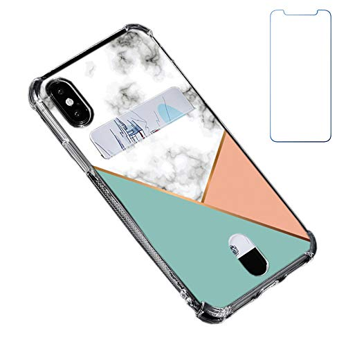 Oddss Case Compatible for iPhone Xs/X 10(5.8 inch) with Card Holder Slot Ultra-Slim Thin Soft TPU Clear Wallet Cover Compatible for iPhone XS/X/10 with Screen Protector (Green Pink White Marble)