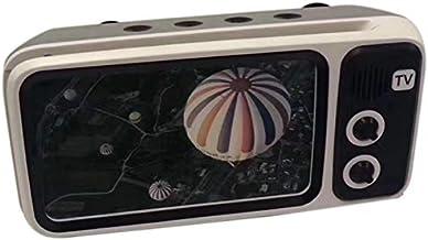 JVSISM 3 in 1 Speaker Retro TV Portable Bass Speaker Mobile Phone Holder Speaker Retro Photo Frame for Gift Silver Grey