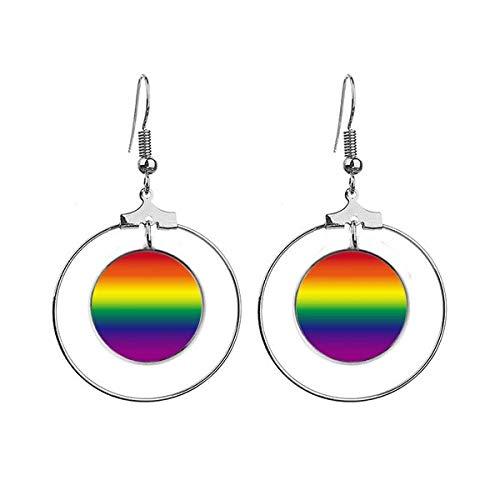 Gradient LGBT Regenboog Homo Oorbellen Dangle Hoop Sieraden Drop Cirkel