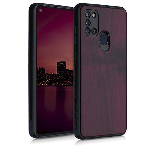 kwmobile Bumper Schutzhülle kompatibel mit Samsung Galaxy A21s - Holz Hülle Handy Case Cover Dunkelrot