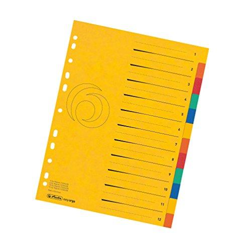 herlitz 11159381 Register Quality 1-12, A4 mit Überbreite, 5 Farben, 1 Stück