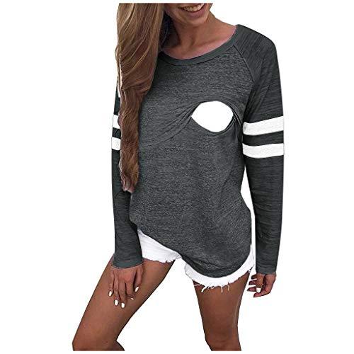Aberimy Damen Stillshirt LangarmGestreift Nähen Bluse Lose Stretch Umstandsshirt Stillpullover Still Schwangerschaft Umstandsmode Kleidung Oberteil T-Shirt Tops Sweatshirt Pullover