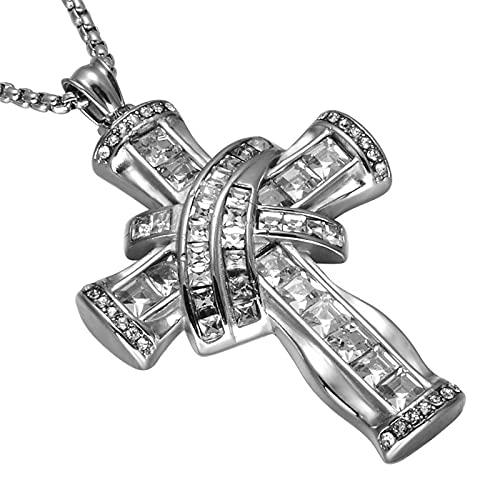 YNING Collar con Colgante de Cruz de Acero de Titanio, Gran Collar con Colgante de Cruz de Diamantes, Adecuado para Regalos para Hombres