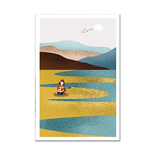Cartel nórdico abstracto pintura en lienzo de paisaje sol ballena artista de pared hogar sin marco pintura decorativa en lienzo D 30x40cm