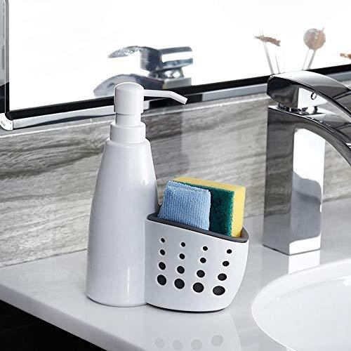 LKU 2 in 1 vloeibare dispenser multifunctionele huishoudelijke vloeibare wasmiddel opbergdoos spons afvoerrek container, 1