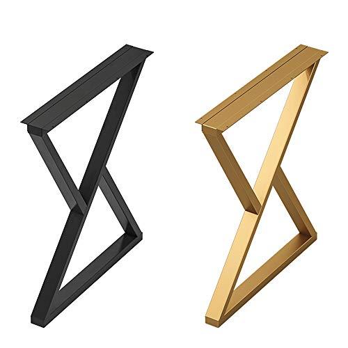 YCMY Pata de Escritorio Patas de Mesa de Comedor de en Acero Industrial Patas de Muebles forma de x Patas de Muebles, Negro/Dorado, 50 x 70cm, 1 piezas