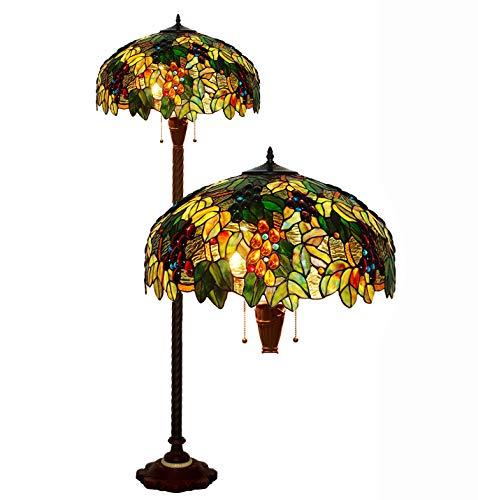 Tiffany Vloerlamp, landlamp, kleurrijk, vetratten, barok, oogschaduw, 2-licht-antieke basis, metallica, voor slaapkamer, Bedside woonkamer, Coffee Shop E27 H165 * D51 cm