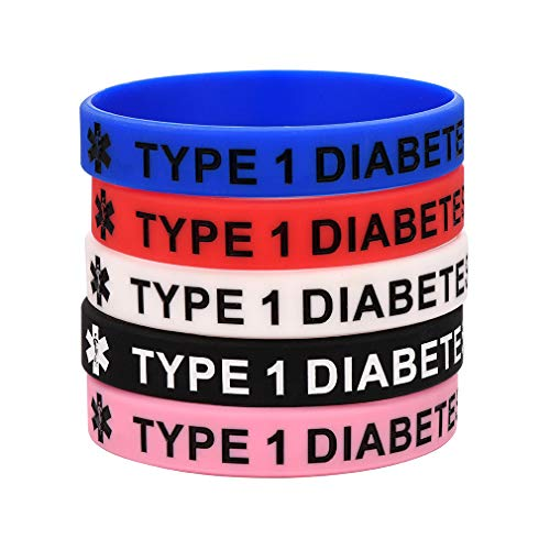 Supcare Type 1 Diabetes Silicone Wristbands for Adult Kids 5 Pcs Colorful Waterproof Rubber Emergency Bracelet Medical Alert Jewelry Gifts