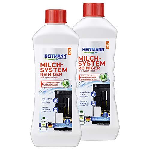 HEITMANN Milchsystem-Reiniger 250 ml - Reiniger für Kaffeevollautomaten - Entfernt Milchrückstände - für 5 Anwendungen, 2er Pack
