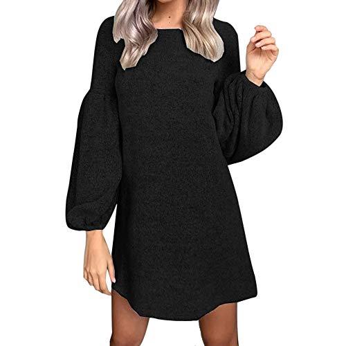 NPRADLA Frühling Sommer Damen Mini Kleider Elegant Langarm O Ausschnitt Einfarbig Hauchhülse Strickkleid 2019