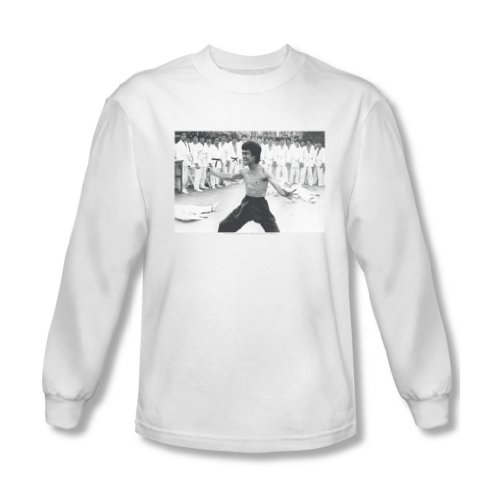 Bruce Lee - - T-shirt manches longues Homme triomphant, Small, White