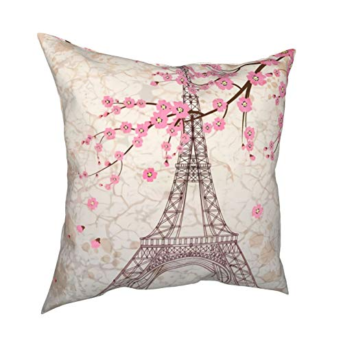 Fedso Soft Decorative Square Throw Pillow Cover Cushion Covers Pillowcase Vintage Paris Eiffel Tower With Pink Cherry Blossom Home Decor for Sofa Couch Bed Chair 18x18 Inch/45x45 cm