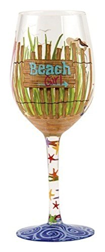 "Designs by Lolita ""Beach Girl"" Hand-painted Artisan Wine Glass, 15 oz."