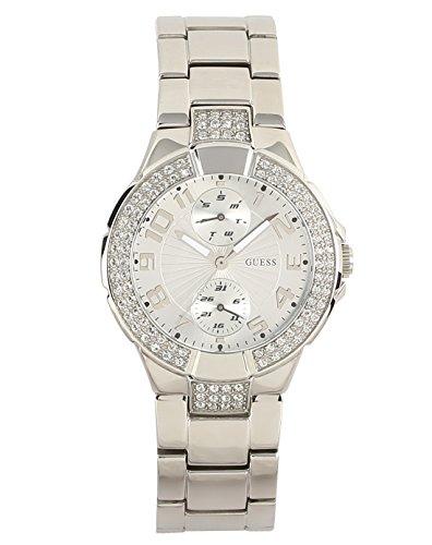 Guess W12638L1 - Reloj analógico de Cuarzo para Mujer con Correa de Acero Inoxidable, Color Plateado