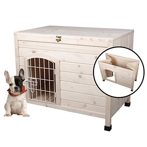 LINLUX Indoor Wooden Portable Dog House, Foldable...
