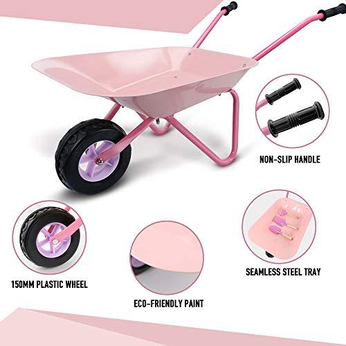 Hortem Kids Wheelbarrow Set, 5PCS Metal Construction Kids Wheel Barrel and Kids Garden Tools,Kids Gardening Glove, Gifts for Children (Pink)