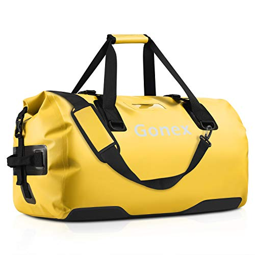 Gonex 80L Extra Large Waterproof Duffle Travel Dry Duffel Bag Heavy Duty Bag with Durable Straps & Handles for Kayaking Paddleboarding Boating Rafting Fishing Yellow