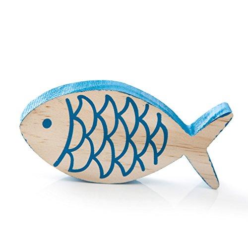 1 amusant poisson en bois peint en bleu dans la taille 10 x 5 cm et 1,5 cm épaisseur à poser ;