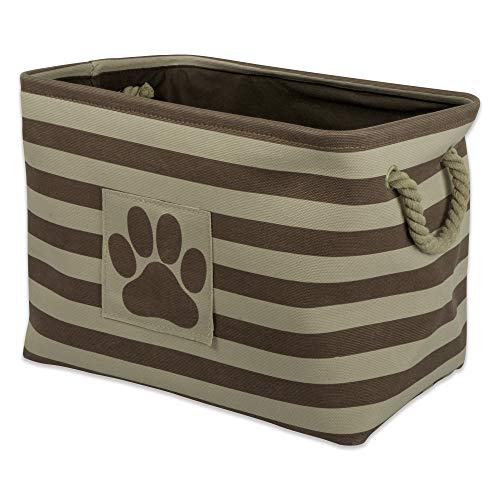 Bone Dry Striped Paw Patch Bin, Large Rectangle, Brown