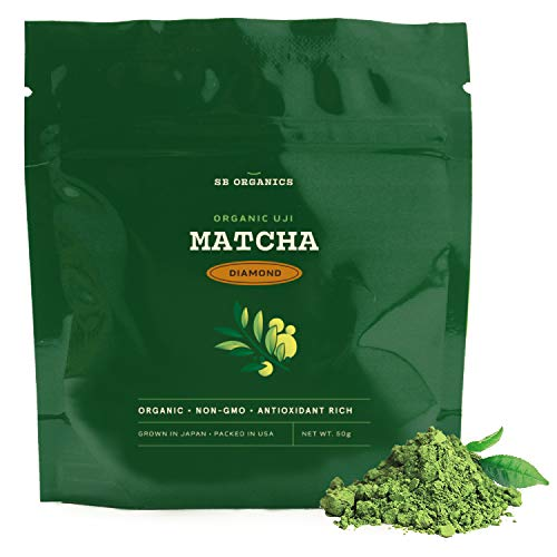 SB Organics Diamond Premium Certified Organic Matcha Green Tea Powder – Niban-Cha Harvest – Premium Drinking Blend for Flavor – 50 Grams