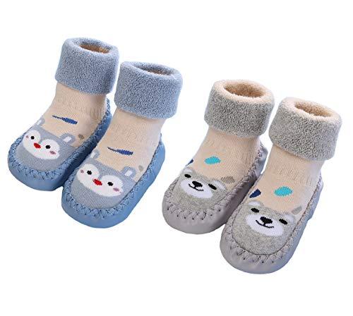 2 Paar Weiche Baby Hausschuhe Winter Socken Kleinkind Mädchen Hausschuhe Baumwolle Neugeborene Jungen Warme Lauflernschuhe Weiche Sohle rutschfest Krabbelschuhe, Blau Grau, Größe 6-12 Monate