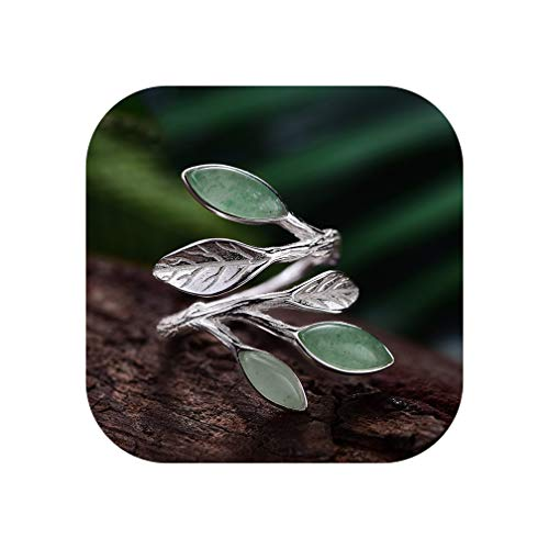 Try My Best Real 925 Sterling Silver Natural Stone Creative Handmade Spring In The Air Leaves Female Rings,Resizable,Green