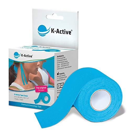 K-Active Tape Classic | Kinesiotapes super hautverträglich | wasserfest | Kinesiologie Tape für Sport & Therapie, extra langer Halt | [5cmx5m] blau