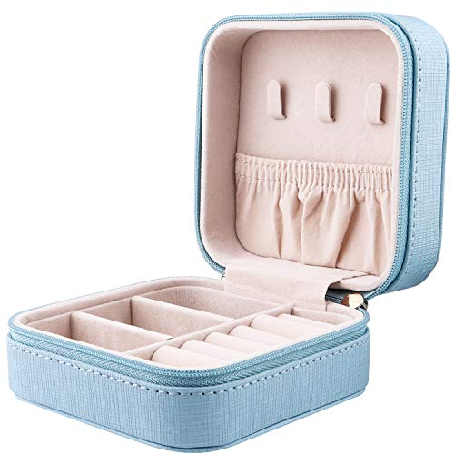 JIDUO Duomiila Small Travel Jewelry Box, Travel Mini Organizer Portable Display Storage Case for Rings Earrings Necklace, Best Gifts Choice for Girls Women (Blue)
