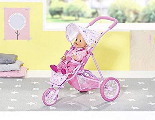 Zapf Creation 826492 BABY born Tri Pushchair Puppenbuggy mit drei Rollen und Gurtsystem, Puppenzubehör 43 cm