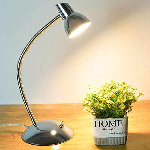 PADMA LED Desk Lamp 5W Eye-Caring Table Lamp 3000K Warm White Silver Chrome Finish Adjustable Reading Lamp for Student Study Office Bedroom Living Room
