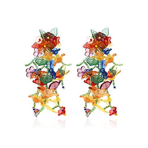 HMMJ Pendientes Colgantes Largos con borlas y Flores Tejidas a Mano para Mujer