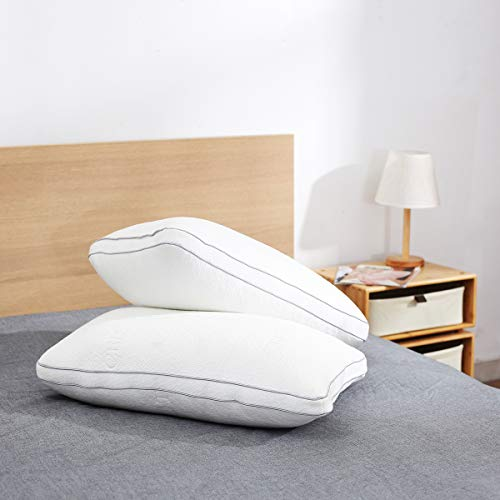 DOSLEEPS Set of 2 Pocket Spring Pillows, Memory Foam, Deep Sleep Pillow, Tencel Cover with Pocket Springs, Pillow, Firm, Perfect for Neck/Shoulder, White