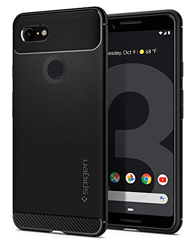 Spigen Rugged Armor, Google Pixel 3 Hülle, F19CS25031 Robuste TPU Silikon Schutzhülle Stylisch Karbon Design Handyhülle Hülle (Schwarz)