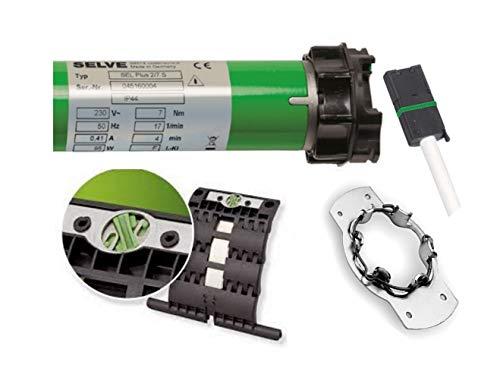 smarotech® Rollladen-Nachrüstset: Rohrmotor Selve SEL Plus 2/7 inkl. Einbruchschutz durch patentierte SecuBlock, Universallager, Anschlusskabel und SW 60 Adapter. (SEL Plus 2/7 mit 4 St. SecuBlock)