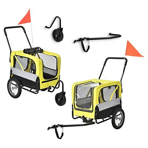 [pro.tec] Remolque de Bicicleta para Mascotas para Perros Carro para Correr 143 x 67 x 96 cm Remolque de Bicicleta para el Transporte de Equipaje y Carga hasta 20 kg Amarillo Gris Negro
