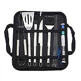 Kit de herramientas para utensilios de barbacoa 11pcs BBQ Grill Herramientas Kit Con Bolsa De Almacenamiento Termómetro Set De Herramientas BBQ De Acero Inoxidable ( Color : Silver , Size : 11pcs )