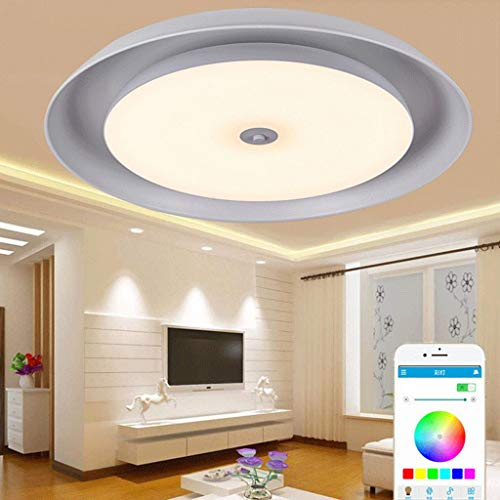 YUPIN LED-plafondlamp, intelligente muziek-plafondlamp dimbaar RGB kleur veranderende lichten met Bluetooth dubbele luidspreker mobiele telefoon APP afstandsbediening, geheugenfunctie timing-
